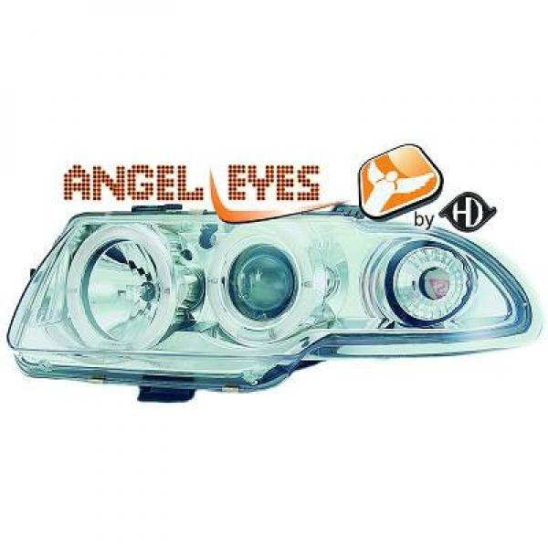 Opel-Astra-F-94-98-Faróis-Angel-Eyes-Fundo-Cromados