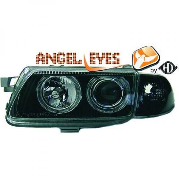 Opel-Astra-F-94-98-Faróis-Angel-Eyes-Fundo-Preto-Pisca-Separado