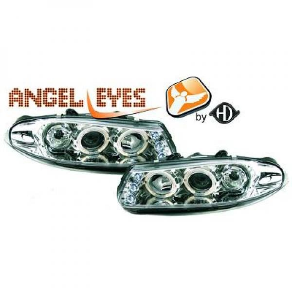 Rover-200-Serie-95-00-Faróis-Angel-Eyes-Cromados