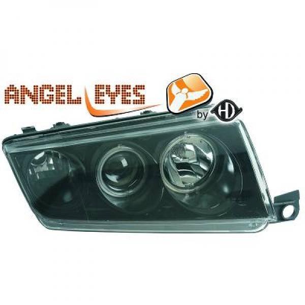 Skoda-Fabia-99-07-Faróis-Angel-Eyes-Preto