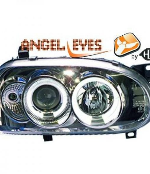 Volkswagen-Golf-III-91-97-Faróis-Angel-Eyes-Cromados